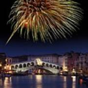 Fireworks Display, Venice Poster by Tony Craddock