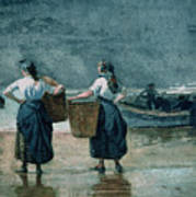 Fisher Girls By The Sea Poster by Winslow Homer