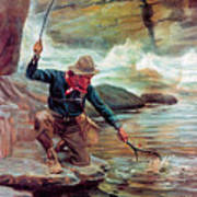 Fisherman By Stream Poster by Phillip R Goodwin