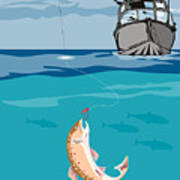 Fisherman On Boat Trout  Poster by Aloysius Patrimonio