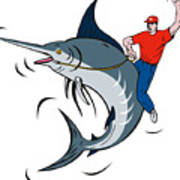 Fisherman Riding Marlin Poster by Aloysius Patrimonio