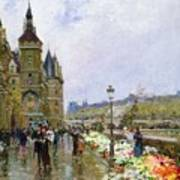 Flower Sellers By The Seine Poster by Georges Stein