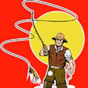 Fly Fisherman  Poster by Aloysius Patrimonio