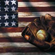 Folk Art American Flag And Baseball Mitt Poster by Garry Gay