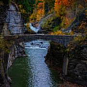 Footbridge At Lower Falls Poster by Rick Berk