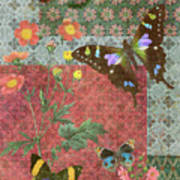 Four Butterfly Patch Green Poster by JQ Licensing