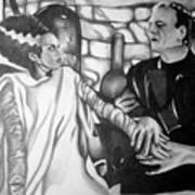 Frankenstein And His Bride Poster by Pauline Murphy