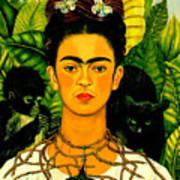 Frida Kahlo Self Portrait With Thorn Necklace And Hummingbird Poster by Pg Reproductions