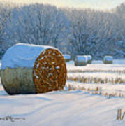 Frigid Morning Bales Poster by Bruce Morrison
