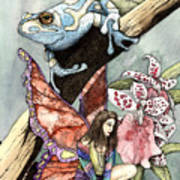 Frog Flowers And A Fairy Poster by Preston Shupp
