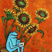 Frog I Padding Amongst Sunflowers Poster by Xueling Zou