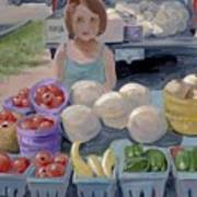 Fruit Stand Girl Poster by Cathy France