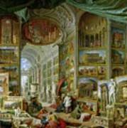 Gallery Of Views Of Ancient Rome Poster by Giovanni Paolo Pannini