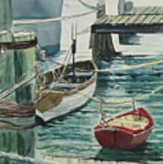 Galveston Boats Watercolor Poster by Judy Loper