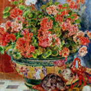 Geraniums And Cats Poster by Pierre Auguste Renoir