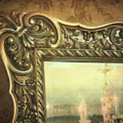 Gilded Mirror Reflection Of Chandelier Poster by Sandra Cunningham