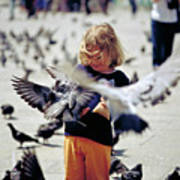 Girl With Pigeons Poster by Heiko Koehrer-Wagner