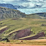 Glacier Mountains Meadows Horses Poster by David Halperin