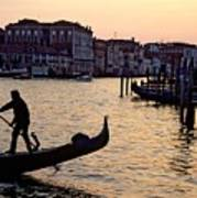 Gondolier In Venice In Silhouette Poster by Michael Henderson