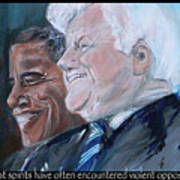 Great Spirits - Teddy And Barack Poster by Valerie Wolf