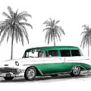 Green 56 Chevy Wagon Poster by Peter Piatt