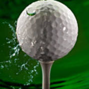 Green Golf Ball Splash Poster by Steve Gadomski