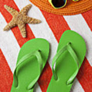 Green Sandals On Beach Towel Poster by Garry Gay