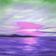 Green Skies And Purple Seas Sunset Poster by Gina De Gorna