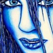 Guess U Like Me In Blue Poster by Joseph Lawrence Vasile