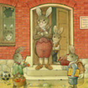 Hare School Poster by Kestutis Kasparavicius