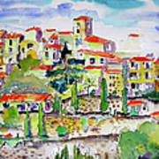 Hillside Village In Provence Poster by Ginette Callaway