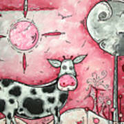 I Love Moo Original Madart Painting Poster by Megan Duncanson
