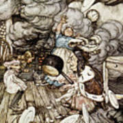 In The Duchesss Kitchen Poster by Arthur Rackham