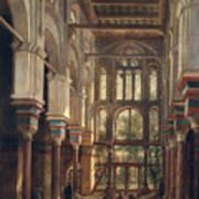 Interior Of The Mosque Of El Mooristan In Cairo Poster by Adrien Dauzats