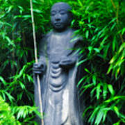 Japanese House Monk Statue Poster by Bill Cannon