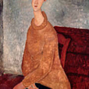 Jeanne Hebuterne In A Yellow Jumper Poster by Amedeo Modigliani