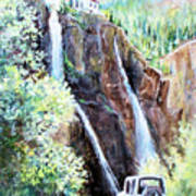 Jeeping At Bridal Falls  Poster by Linda Shackelford