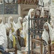 Jesus Unrolls The Book In The Synagogue Poster by Tissot