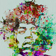 Jimmy Hendrix Watercolor Poster by Naxart Studio