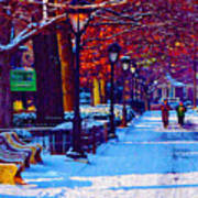 Jogging In The Snow Along Boathouse Row Poster by Bill Cannon