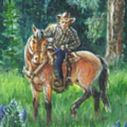 Juel Riding Chiggy-bump Poster by Dawn Senior-Trask