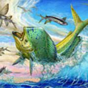 Jumping Mahi Mahi And Flyingfish Poster by Terry Fox