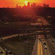 Kansas City I 70 Sunset Poster by Don Wolf