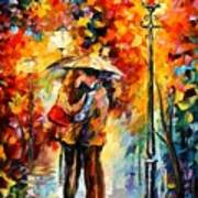 Kiss Under The Rain Poster by Leonid Afremov