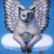 Kitty Yin Yang- Cat Angel Poster by Sue Halstenberg