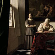 Lady Writing A Letter With Her Maid Poster by Jan Vermeer