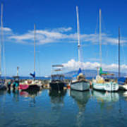 Lahaina In Blue Poster by Ron Dahlquist - Printscapes