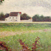 Landscape In The Ile De France Poster by Georges Pierre Seurat