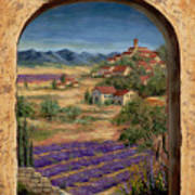 Lavender Fields And Village Of Provence Poster by Marilyn Dunlap