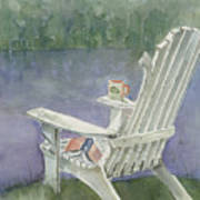 Lawn Chair By The Lake Poster by Arline Wagner